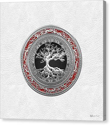 Silver Celtic Tree Of Life On White Leather Canvas Print by Serge Averbukh