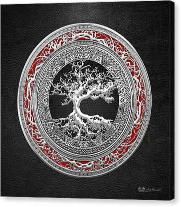 Silver Celtic Tree Of Life Canvas Print by Serge Averbukh