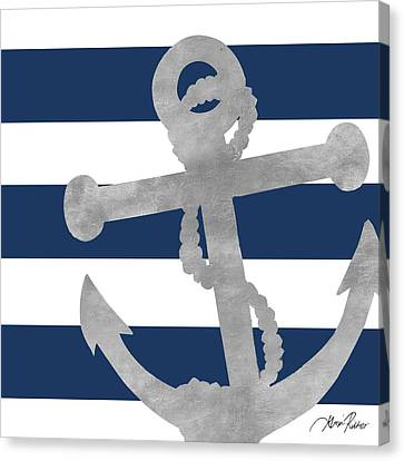 Silver Coastal On Blue Stripe I Canvas Print