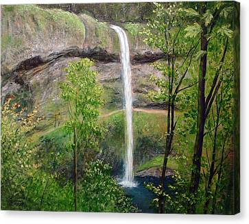 Canvas Print featuring the painting Silver Creek Falls by Kenny Henson