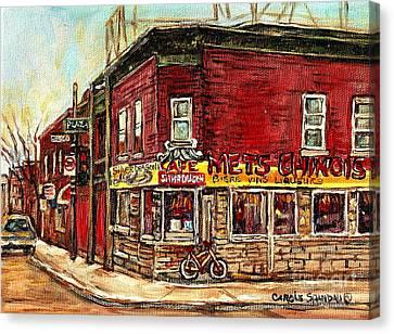 Silver Dragon Mets Chinois Verdun Resto Montreal Paintings Authentic Original Verdun Art Cspandau  Canvas Print by Carole Spandau