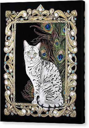 Silver Egyptian Mau Canvas Print by Leena Pekkalainen