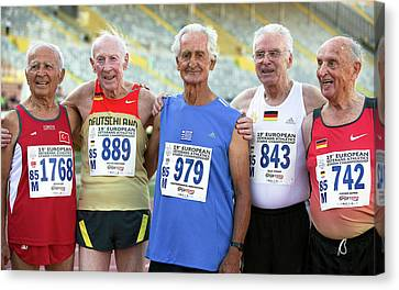 Silver-haired Athletes In Their Late 80s Canvas Print