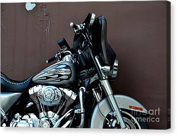 Canvas Print featuring the photograph Silver Harley Motorcycle by Imran Ahmed