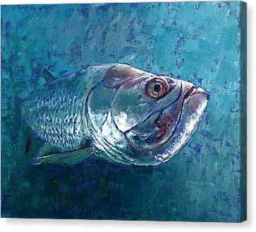 Canvas Print featuring the painting Silver King Tarpon by Pam Talley