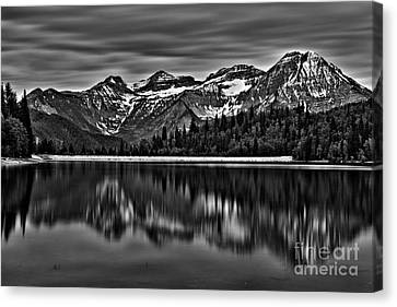 Silver Lake Reflection Black And White Canvas Print