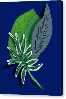 Canvas Print featuring the digital art Silver Leaf And Fern I by Christine Fournier