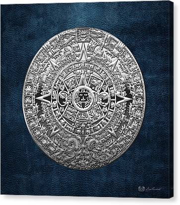 Mayan Mythology Canvas Print - Silver Mayan-aztec Calendar On Blue by Serge Averbukh