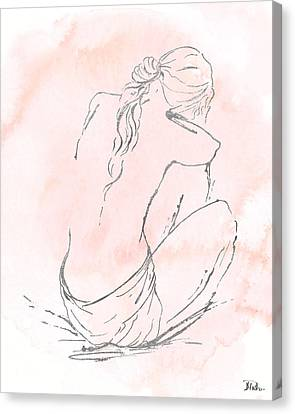 Silver Nude On Pink I Canvas Print