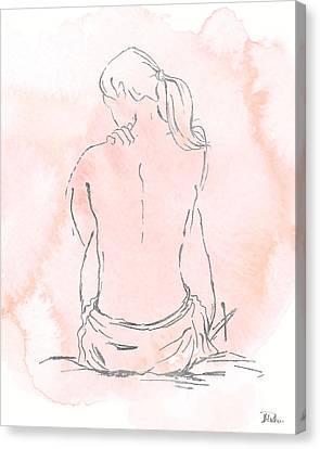 Silver Nude On Pink II Canvas Print