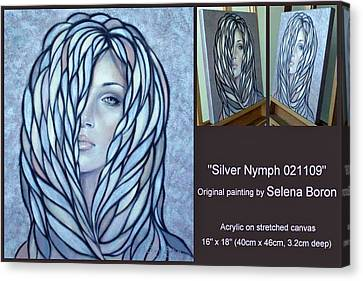 Canvas Print featuring the painting Silver Nymph 021109 Comp by Selena Boron