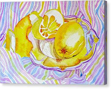 Silver Plate With Lemons Canvas Print by Elena Mahoney