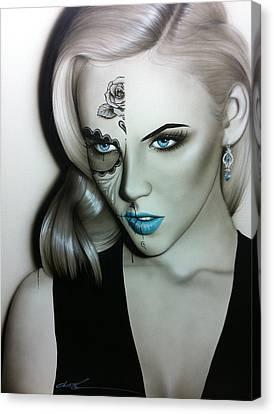 Blonde Canvas Print - Sugar Skull - ' Silver Soul ' by Christian Chapman Art
