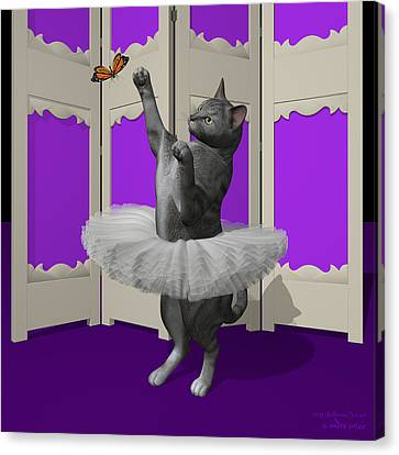 Silver Tabby Ballet Cat On Paw-te Canvas Print by Andre Price