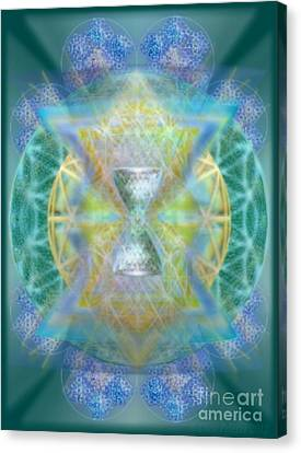 Silver Torquoise Chalicell Ring Flower Of Life Matrix Canvas Print by Christopher Pringer