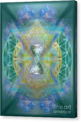 Silver Torquoise Chalicell Ring Flower Of Life Matrix II Canvas Print