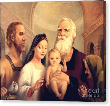 Simeon In The Temple Canvas Print by Art By Tolpo Collection