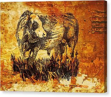 German Fleckvieh  Bull 22 Canvas Print by Larry Campbell