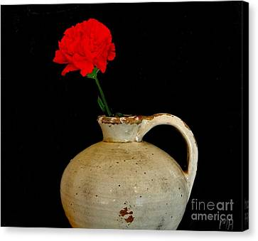 Simple Carnation In Pottery Canvas Print by Marsha Heiken