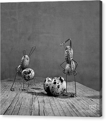 Quail Canvas Print - Simple Things Easter by Nailia Schwarz