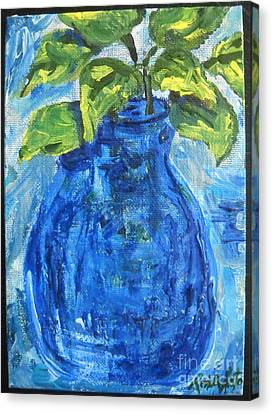 Canvas Print featuring the painting Simple Greens by Reina Resto