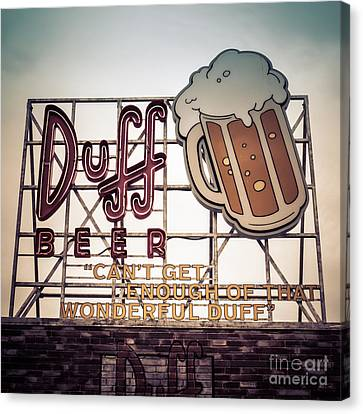 Amusements Canvas Print - Simpsons Duff Beer Neon Sign by Edward Fielding