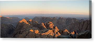 Canvas Print featuring the pyrography Sinai Mountains Just After Sunrise by Julis Simo