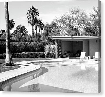 Old Blue Eyes Canvas Print - Sinatra Pool And Cabana Bw Palm Springs by William Dey Dianovsky
