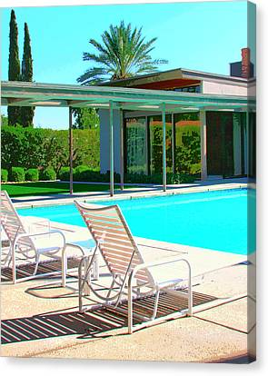 Lounging Canvas Print - Sinatra Pool Palm Springs by William Dey