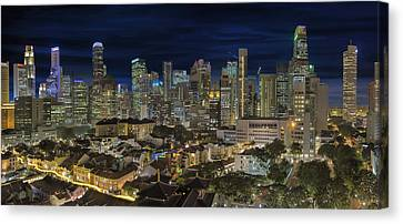 Singapore Central Business District Skyline And Chinatown At Dus Canvas Print by David Gn