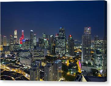 Singapore Cityscape At Blue Hour Canvas Print by David Gn