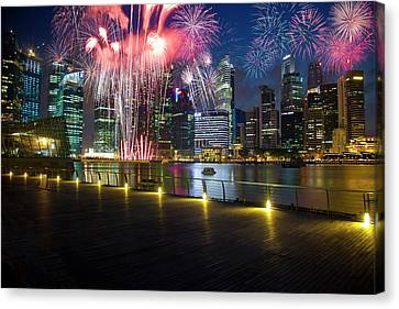Singapore Fireworks In Downtown Area Canvas Print