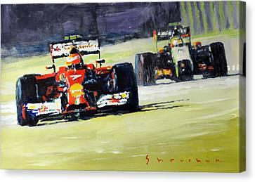 2014 Singapore Gp Raikkonen Scuderia Ferrari F14 T Perez Sahara Force India F1  Canvas Print by Yuriy Shevchuk