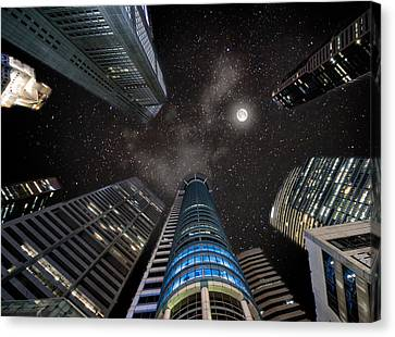 Singapore Moon Sky Canvas Print by John Swartz