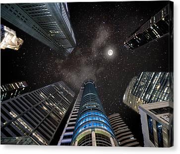 Singapore Moon Sky Canvas Print