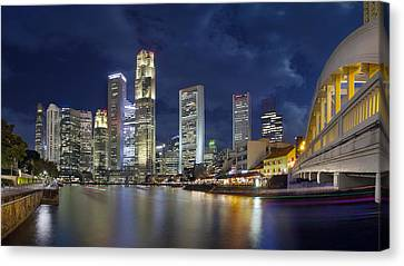 Singapore Skyline From Boat Quay Canvas Print by Jit Lim