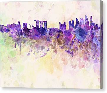 Singapore Skyline In Watercolour Background Canvas Print by Pablo Romero