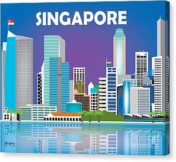 Singapore Skyline Canvas Print by Karen Young