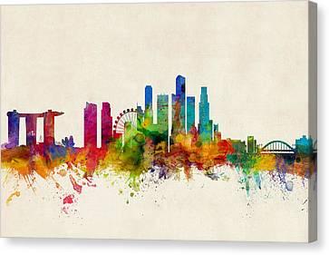 Silhouettes Canvas Print - Singapore Skyline by Michael Tompsett