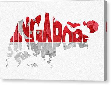 Singapore Typographic Map Flag Canvas Print