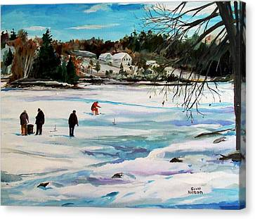 Scott Nelson Canvas Print - Singeltary Lake Ice Fishing by Scott Nelson