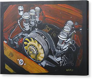Canvas Print featuring the painting Singer Porsche Engine by Richard Le Page