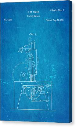 Sewing Machine Canvas Print - Singer Sewing Machine Patent Art 1851 Blueprint by Ian Monk
