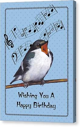Singing Bird Birthday Card Canvas Print by Joyce Geleynse