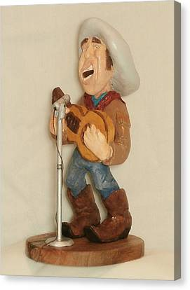 Caricature Cowboy Canvas Print - Singing Cowboy by Russell Ellingsworth