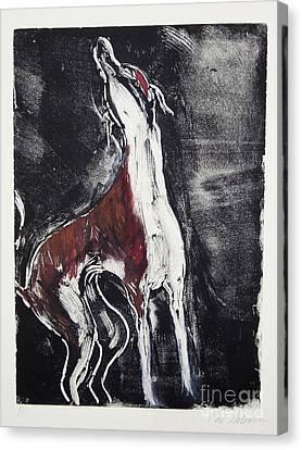 Greyhound Canvas Print - Singing For Joy by Cori Solomon