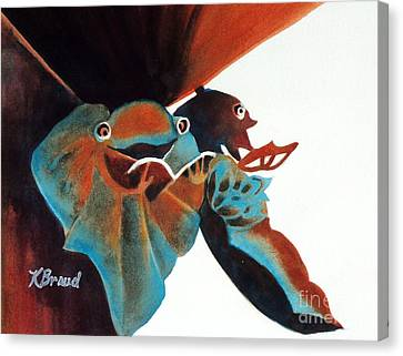 Singing Frog Duet 2 Canvas Print by Kathy Braud