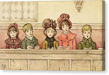 Singing In Church Canvas Print by Kate Greenaway