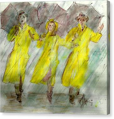 Singing In The Rain Canvas Print by P J Lewis