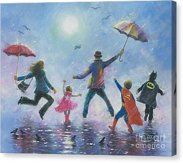 Singing In The Rain Super Hero Kids Canvas Print by Vickie Wade